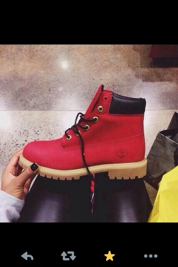 shoes red timberlands thots gone hate
