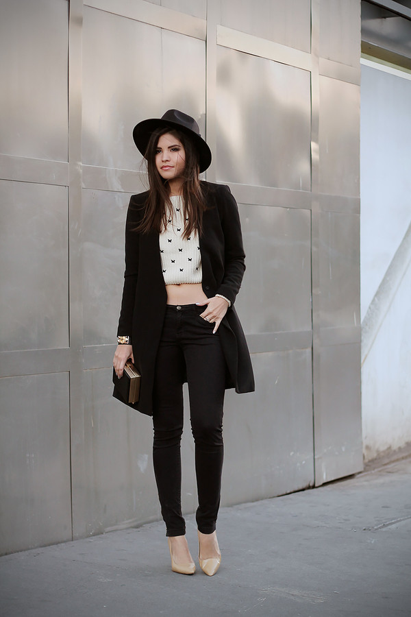 fake leather hat sweater jacket jeans bag shoes