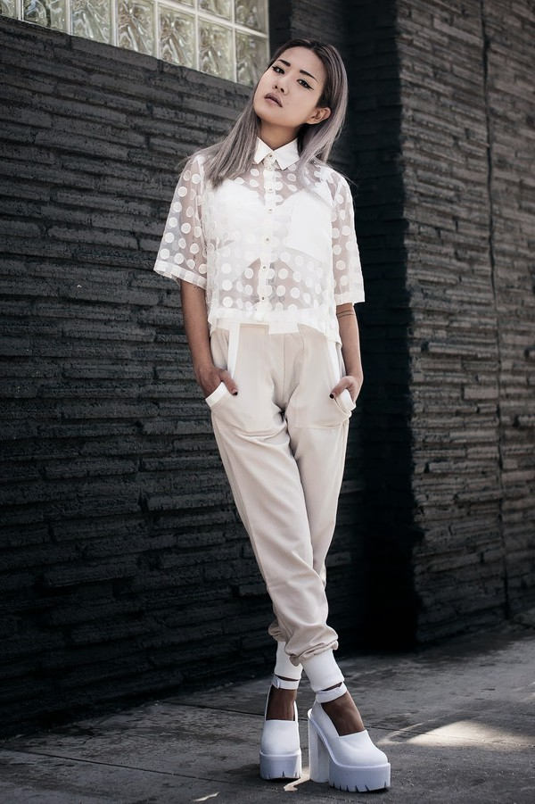 feral creature blouse pants shoes