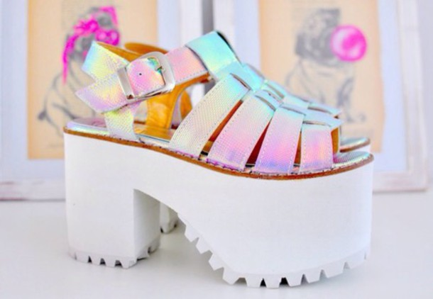 shoes platform shoes holographic shoes Silver sandals