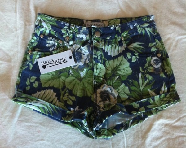 shorts floral lulu & rose flowered shorts tropical green blue colorful colorful plants high waisted summer High waisted shorts black pants hipster boho skinny hawaiian