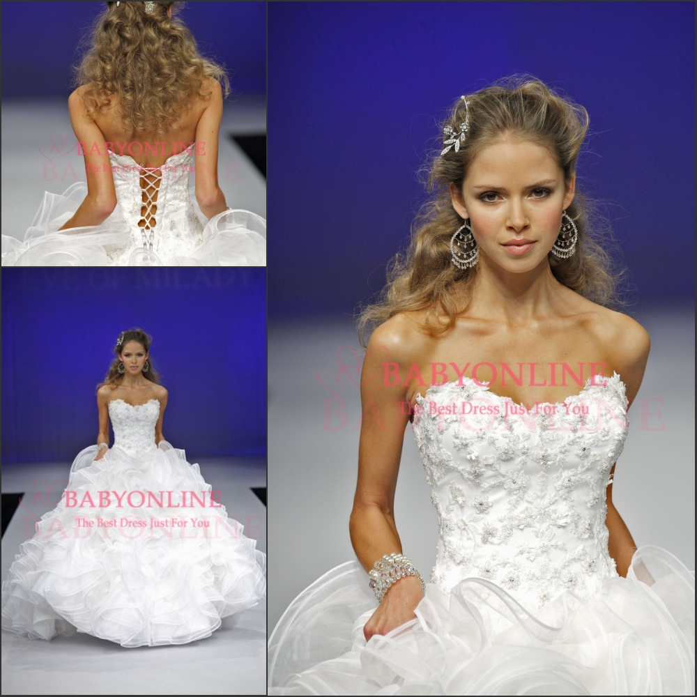 Aliexpress.com : Buy New Style Designers Lace up Wedding Ball Gowns 2014 Beaded White Wedding Dresses Ruffles Bridal Ball Gowns Custom Made BO5839  from Reliable dress past suppliers on Suzhou Babyonline