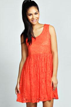 Polly Lace Sleeveless Smock Dress at boohoo.com