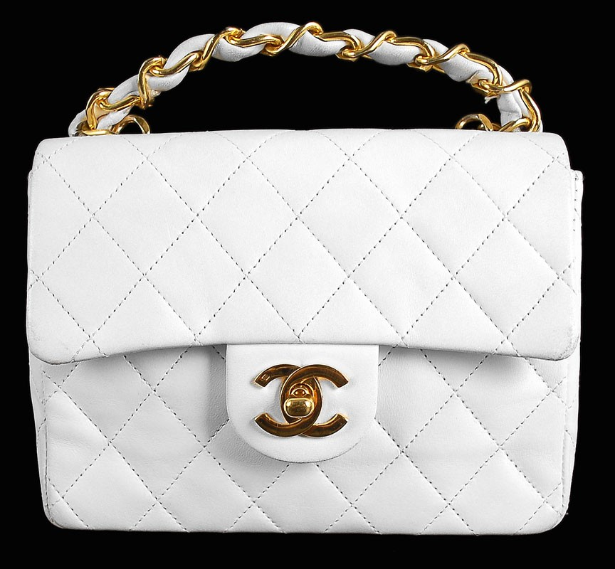Chanel White Quilted Lambskin Mini Classic Flap Bag | Portero Luxury