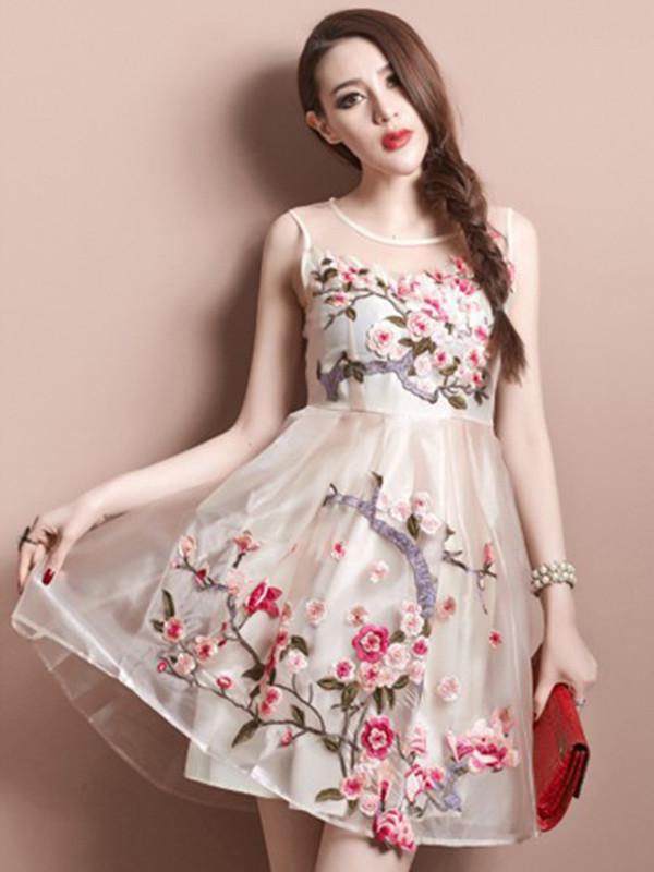 lace dress summer dress embroidery dress women's dress