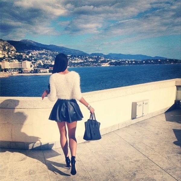 shirt blouse sweater skirt white blouse fuzzy sweater top pleather skirt black leather skirt black leather skirt bag top