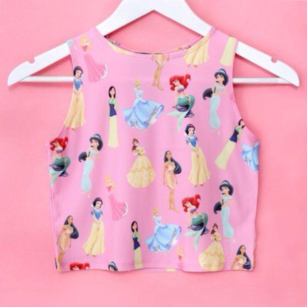 tank top disney blouse pink crop tops disney princess girly top