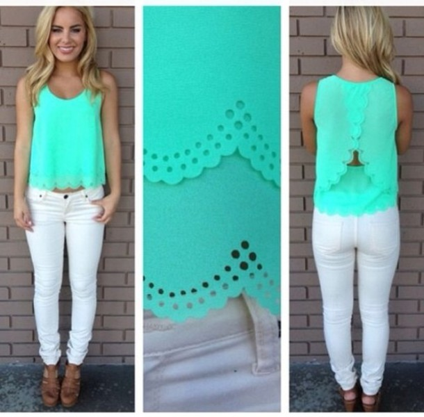 shirt tank top blue jeans white blouse scalloped shirt cute style summer top teal opennback cute mint
