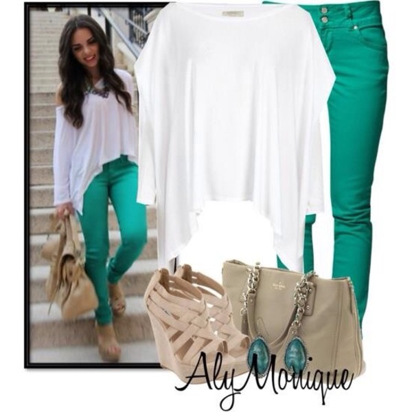 jeans shoes turquoise pants white blouse