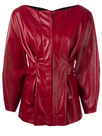 jacket leather jacket women leather cotton red