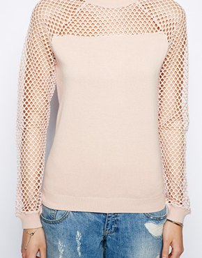 ASOS   ASOS Sweater With Mesh Insert and Sleeves at ASOS