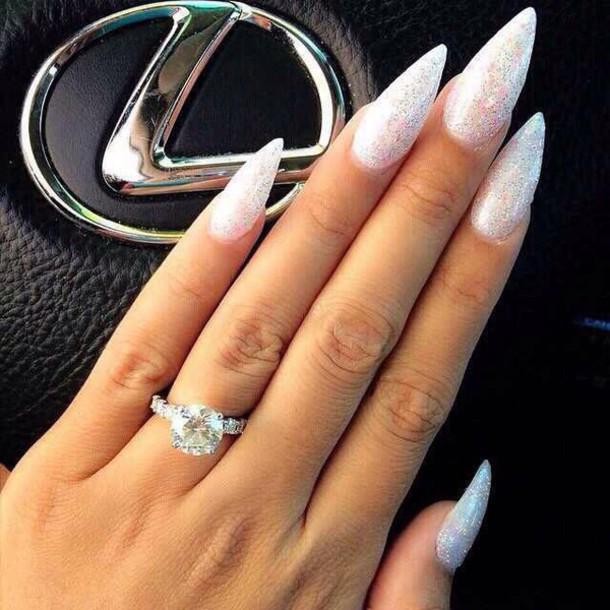 nail polish white sparkly sharp nails jewels