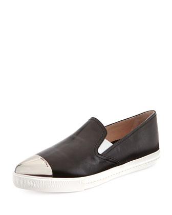 Miu Miu Metal-Toe Leather Skate Shoe