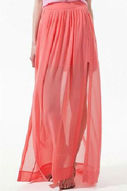 ROMWE   ROMWE Double-layered Split Side Coral Chiffon Maxi Skirt, The Latest Street Fashion