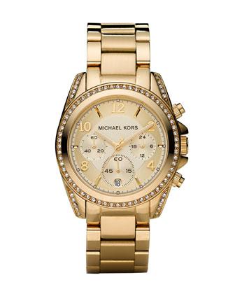 Michael Kors Golden Runway Watch with Glitz - Neiman Marcus