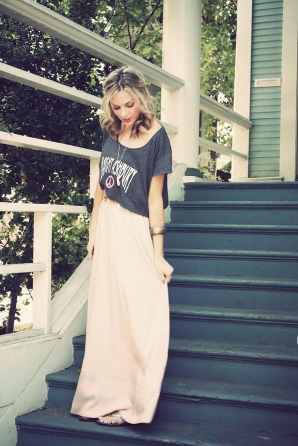 t-shirt casual pink maxi skirt crop tops skirt