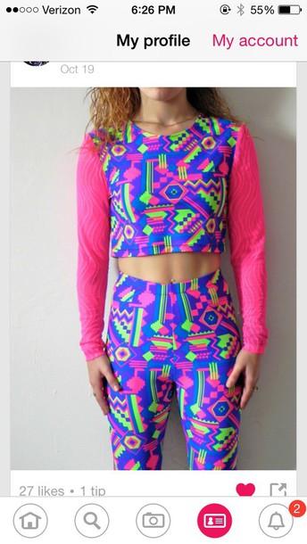 leggings neon fresh prince 80s style 90s style jumpsuit geometric multicolor