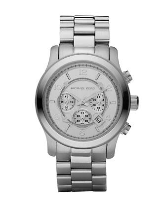 Michael Kors Silver Oversized Runway Watch - Michael Kors