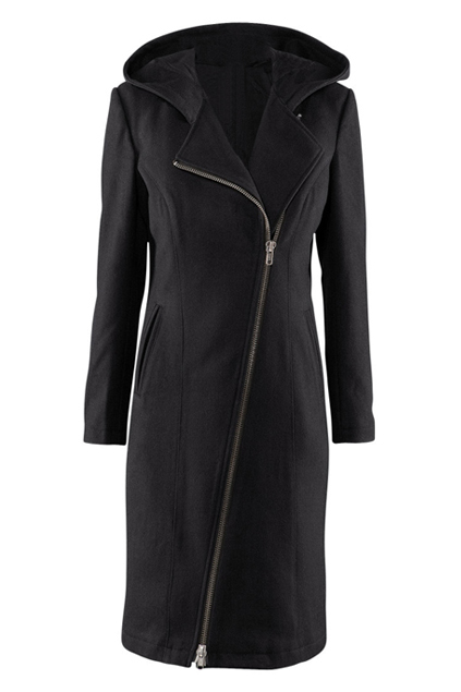 ROMWE | Lapel Zippered Black Trench Coat, The Latest Street Fashion