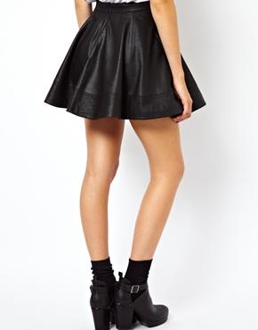 ASOS | ASOS Skater Skirt in Leather at ASOS