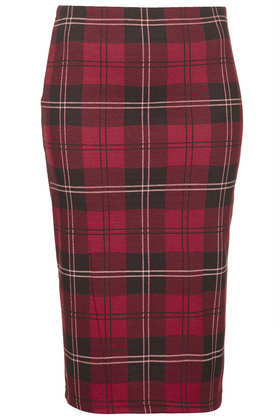 Red Check Tube Skirt - Tartan  - New In  - Topshop