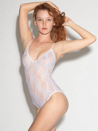 Nylon Spandex Stretch Lace Bra Bodysuit  | American Apparel