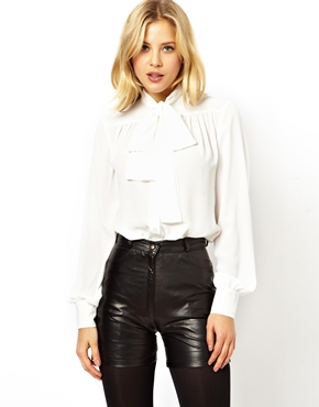ASOS | ASOS Blouse with Pussybow Neck and Gathered Front at ASOS
