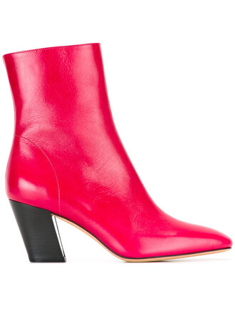 women boots leather red shoes