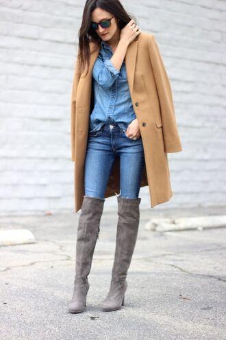 frankie hearts fashion blogger coat shirt jeans shoes sunglasses camel coat