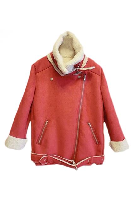 ROMWE | ROMWE Zippered Lapel Long Sleeves Red Coat, The Latest Street Fashion