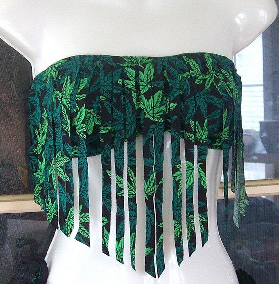 420 pot leaf fringe bandeau top by MatsonDesignStudio on Etsy