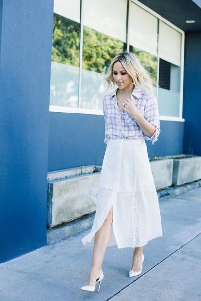 damsel in dior blogger shirt white skirt