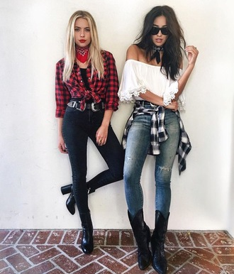 shirt shay mitchell ashley benson off the shoulder pretty little liars bandana choker necklace thick heel high waisted jeans ripped jeans thick heel boots blouse jeans plaid plaid shirt boots boho shirt flannel shirt black jeans black boots chunky sole cowgirl spring outfits spring instagram celebrity actress celebrity style high heels boots cowboy boots grey jeans white top crop tops white crop tops off the shoulder top sunglasses black sunglasses