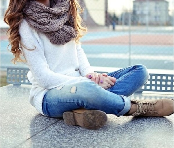 knitted scarf knitwear knitted sweater infinity scarf ripped jeans combat boots fall outfits white sweater wavy hair scarf grey warm winter swag boots sweater
