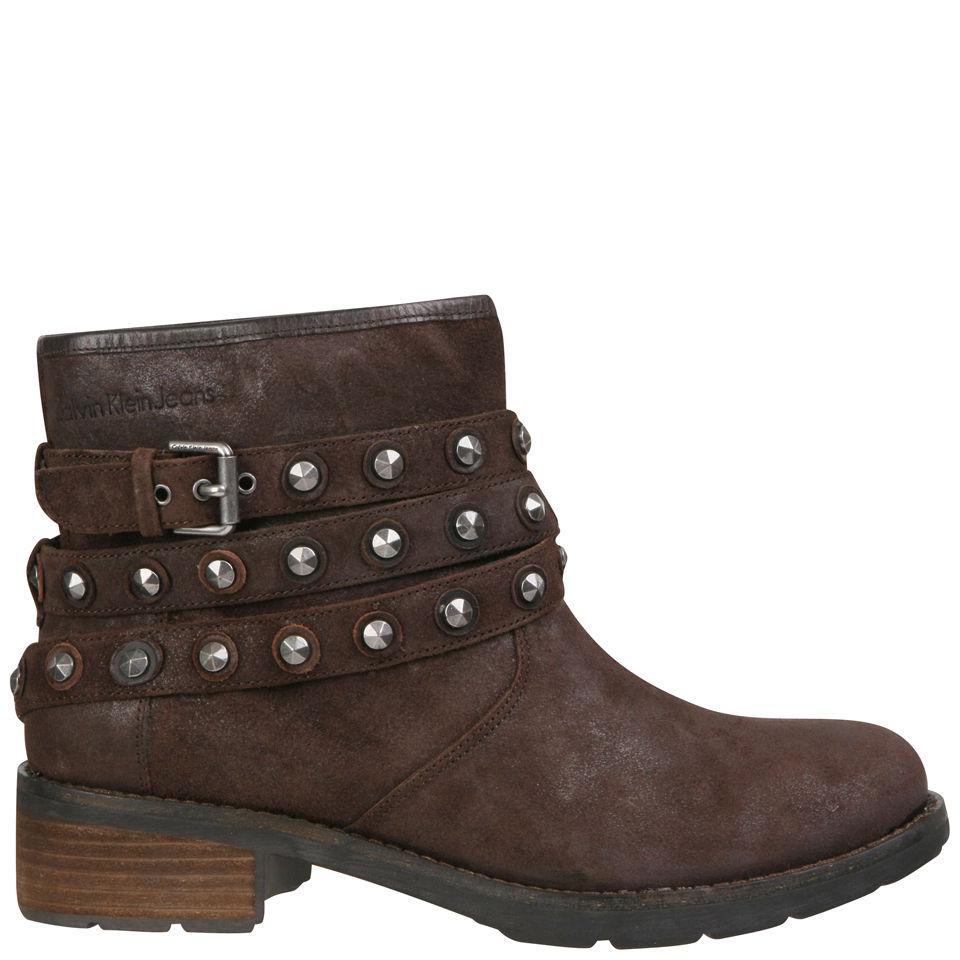 CK Jeans Women's Helga Studded Biker Ankle Boots - Dark  Brown Womens Footwear - FREE UK Delivery