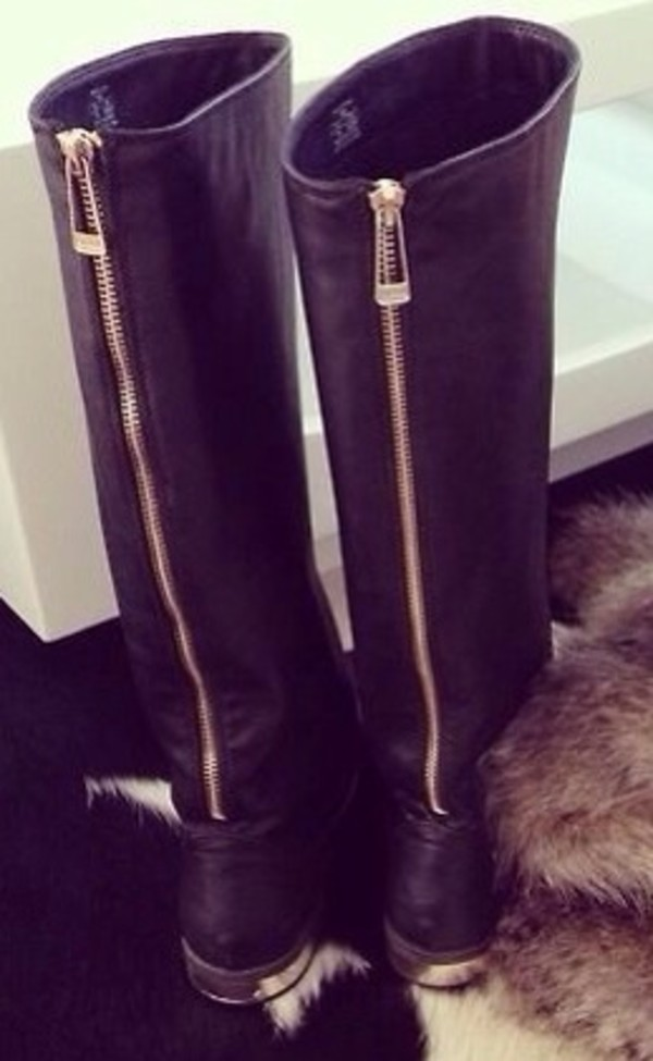 shoes boots gold zip cute fall outfits winter outfits warm