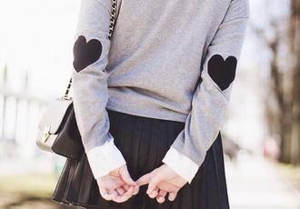 kawaii asian fashion ulzzang heart grey preppy elbow patches asian heart sweater black skater skirt