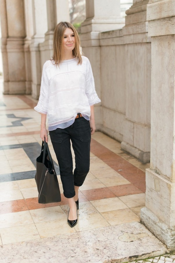 the working girl blouse jeans coat bag shoes belt