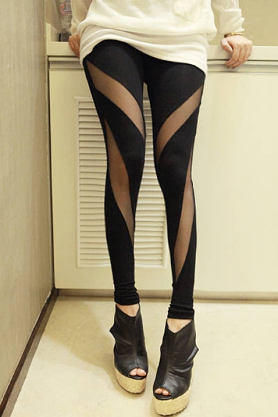 Sheer Mesh Inserted Leggings - OASAP.com