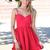 Red Party Dress - Red Sleeveless Tie Back Dress | UsTrendy