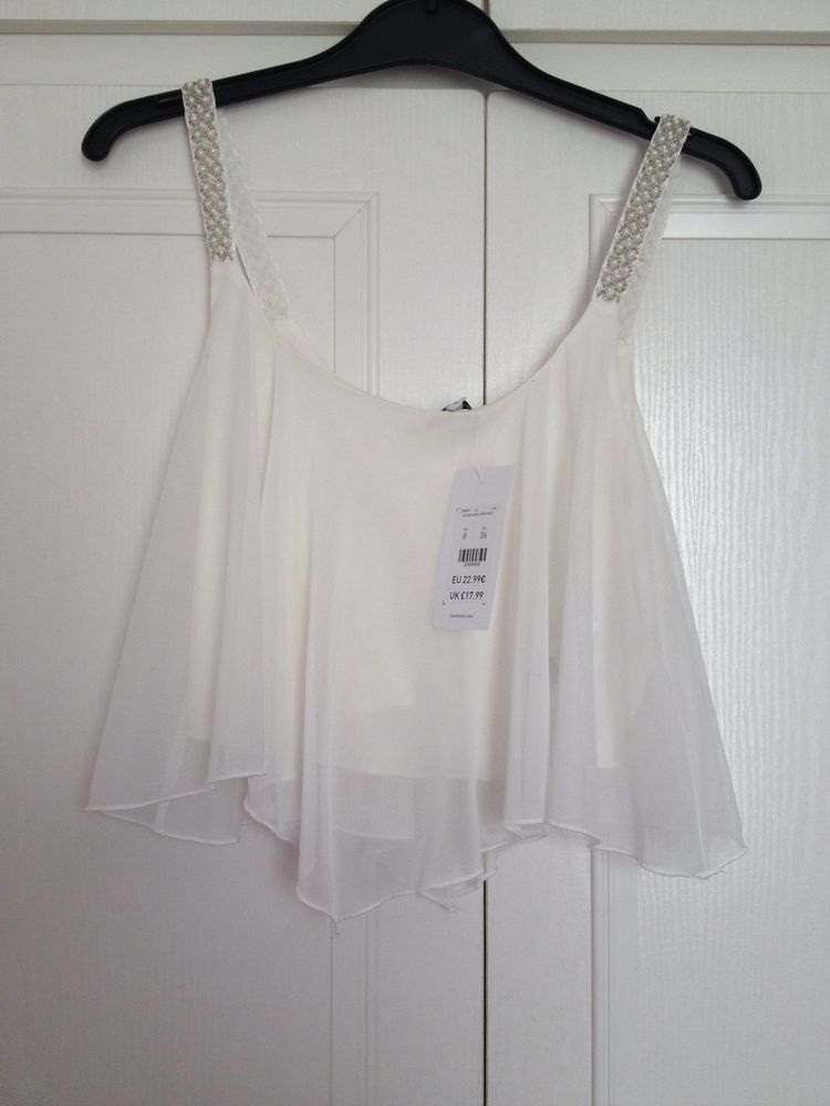 New Look White Swing Crop Cami Top With Beaded Straps, Size 8, BNWT. | eBay