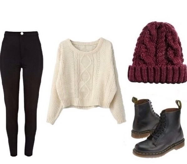 shoes black boots vintage winter sweater pretty beanie cherry jeans lovely combat boots military boots sweater