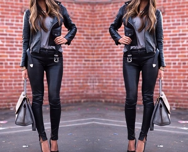bag celine trapeze jeans leather jacket biker jeans