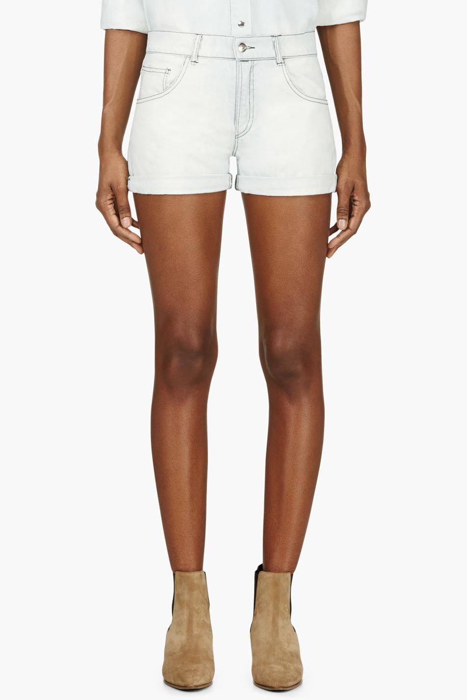 roseanna light blue bleached denim shorts