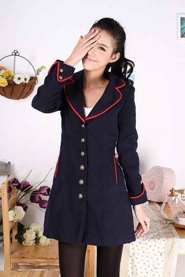 Stylish Color Contrast Slim Fit Coat [FEBK0241] - PersunMall.com