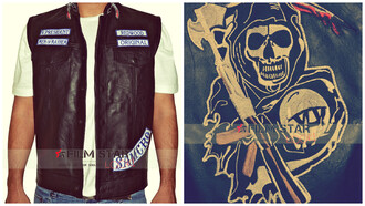 jacket sons of anarchy leather jacket leather vest