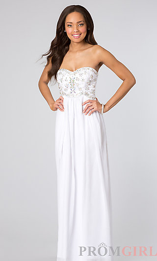 Beaded Prom Dresses, Strapless Gown for Prom- PromGirl