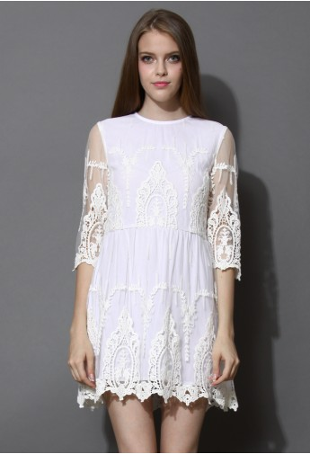 In Your Dreams Lace Embroidered Mesh Dress - Retro, Indie and Unique Fashion