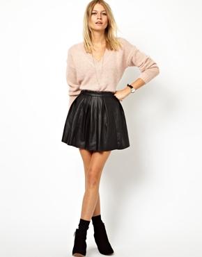 ASOS   ASOS Skater Skirt in Leather Look at ASOS