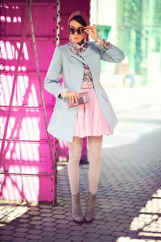 macademian girl coat shirt skirt shoes bag sunglasses jewels belt